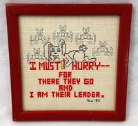 """I Must Hurry Leader Rabbit Framed Finished Cross Stitch 5 3/4"""" Square 1983 Bunny"""