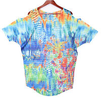 Kristine Women's Blue Sheer Embellished Cold Shoulder Tunic Top - Size Small