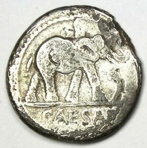 Julius Caesar AR Denarius Silver Elephant Coin 49 BC - Good Fine / VF