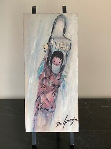 Listed Tucson Artist Ted DeGrazia Original 1950's Oil Painting on Wood