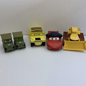 Disney Pixar Cars Lot Of 5 Vehicles Military Bull Lighting McQueen