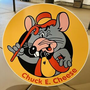 🍕Vintage Chuck E Cheese Sign Wall Art Man Cave Restaurant Advertising Americana