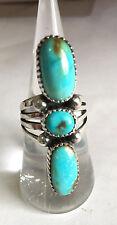 Crow Springs Turquoise three stone Ring Sterling  Sz 7.5 TByrd Navajo AJoe