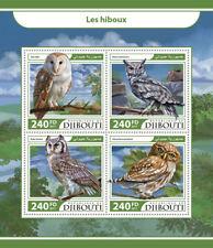 Djibouti 2017 MNH Owls Barn Owl Owlet Eagle-Owl 4v M/S Hiboux Birds Stamps