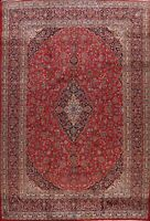 Vintage Traditional Floral Red Kashaan Ardakan Hand-Knotted Wool Area Rug 10x13