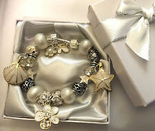 white wedding Ladies daughter Mum Big sister flower charm bracelet gift box
