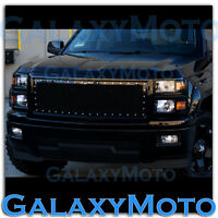 14-15 Chevy Silverado 1500 Black Front Hood Complete Rivet Mesh Grille+Shell