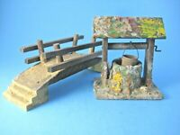 Vintage Christmas Putz Wood Well and Bridge for Nativity or Village Made in USA