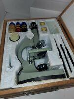 Vintage Tasco Microsc Kit 50x-900x in Wooden Case parts as is read