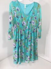 PINKBLUSH MATERNITY WOMEN'S 3/4 SLEEVE FLORAL DRESS TURQUOISE/LAVEND LG NWT $51