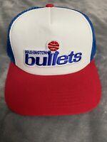 Vintage Washington Bullets NBA Throwback Old School Logo Trucker Hat Cap NEW