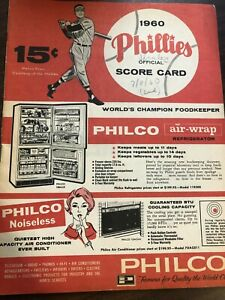 MLB BASEBALL PHILLIES PIRATES SCORED SCORECARD PROGRAM 1960 VERY GOOD CON