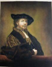 Rembrandt Self Portrait 1923 Coloured Mezzotint Signed by S M Litten