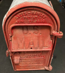ANTIQUE 1899 STYLE C BATES-HAWLEY MAILBOX CAST IRON TIN JOLIET IL