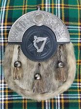 Men's Full Dress Kilt Sporran Seal Skin Celtic Cantle Antique/Sporran Irish Harp