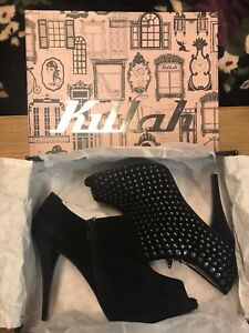 "Killah ""Neya"" Peep Toe Studded 4"" Heeled Ankle Boots UK 7.5 EUR 41 new with box"