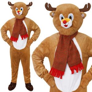 ADULT REINDEER MASCOT COSTUME CHRISTMAS FANCY DRESS NOVELTY PLUSH SUIT BIG HEAD