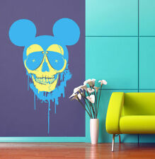 ced221 Full Color Wall decal Sticker Mickey Mouse skull bedroom kids nursery