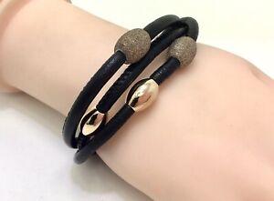 "Artelioni Black Leather Rose Gold Power Coated Bracelet, 6""/15cm RRP £59"