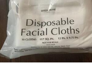 "Disposable Facial Cloths (30 Cloths) New! 12"" X 9.75"""