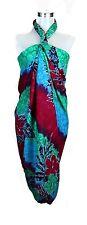 Jumbo Plus Size Tropical Cruise Beach Luau Sarong Wrap Dress Pareo Red Blu Grn