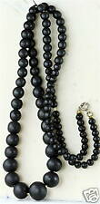 VICTORIAN ANTIQUE LONG MOURNING JEWELRY BEADS NECKLACE