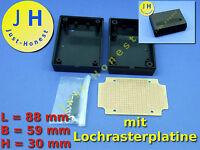 Universal Kunststoff Gehäuse / Plastic Case mit Lochrasterplatine / PCB #A117