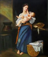 Stretched Hand Painted Oil Painting Repro Bouguereau First Caresses 20x24in