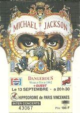 RARE / TICKET BILLET DE CONCERT - MICHAEL JACKSON : LIVE A PARIS ( FRANCE ) 1992