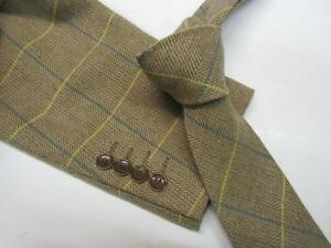 Marc Darcy Vintage Check Waistcoat Formal Ties STYLE DX7  - OAK, CHARCOAL,TAN