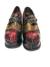 Vintage Patchwork Platform Shoes Disco Made In Italy Fluevog Style Size 7