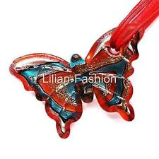 Silver Red Butterfly Lampwork Glass Murano Pendant Ribbon Wax Cord Necklace