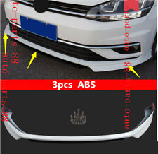 3x White ABS Front Bumper Lip Spoiler Cover trim Fit For VW Golf MK7.5 2018 2019