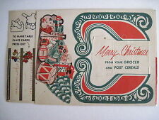 Vintage Press Out Christmas Decorations from Post Cereals Box w Santa & Sleigh *