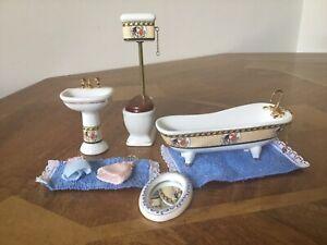 Dolls House Miniature White/gold Bathroom Job Lot Furniture 1/12 Scale