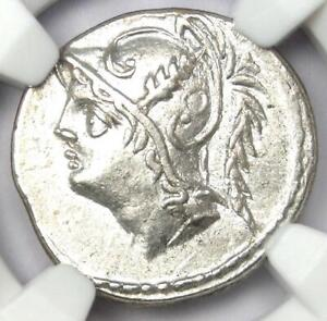 Roman Q. Minucius Thermus Mf. AR Denarius Mars Coin 103 BC - Certified NGC AU