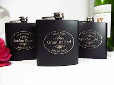 3 Personalized Engraved Flasks Groomsman Groomsmen Best Man Gifts Black OVAL