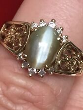 2.82CT Natural Cats Eye Chrysoberyl & Natural Diamond 14K Gold Ring Size Q