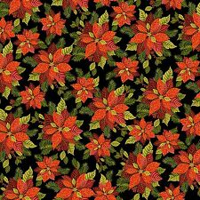 Fabric #2409 Red Poinsettias Green Leaves on Black Gold Metallic Sold by 1/2 Yd