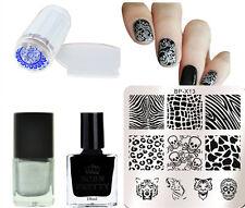 5Pcs/Set Tiger Nail Art Stamp Plates Polish Varnish W/Stamper & Scraper Kit DIY