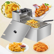 1700w 6l Electric Deep Fryer Stainless Steel Cooking Machine Commercial Basket