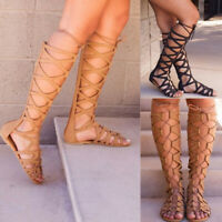 Women Summer Ladies Strappy Gladiator Sandals Knee High Boots Flat Casual Shoes