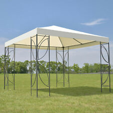 Patio 10'x10' Square Gazebo Canopy Tent Steel Frame Shelter Awning W/Beige Cover