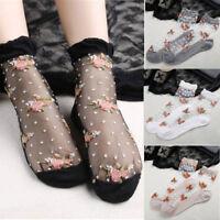 Women Ultrathin Socks Transparent Crystal Rose Lace Floral Elastic Short Socks