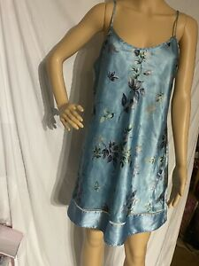 Vintage Secret Treasures Satin Chemise Negligee Nightgown Floral Print Large