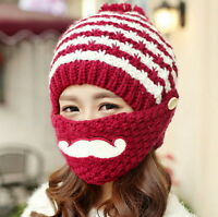 Women Pompom Cap Winter Knitted Crochet Ski Face Mask Beard Mustache Hat Beanie