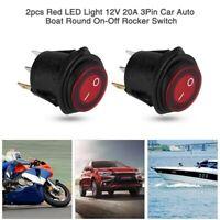 2pcs 12V Car Round Rocker Dot Boat Red LED Light Toggle ON/OFF Switch