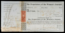 Stock certificate of the Woman's Journal Signed by Reformer Henry Blackwell