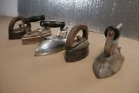 Vintage Antique Clothing Irons Lot of 5 - Pacific Electric General  Wood Handle