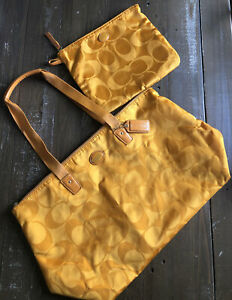 EUC COACH Nylon Signature Packable Weekender Tote + Pouch Bag in Marigold F77321